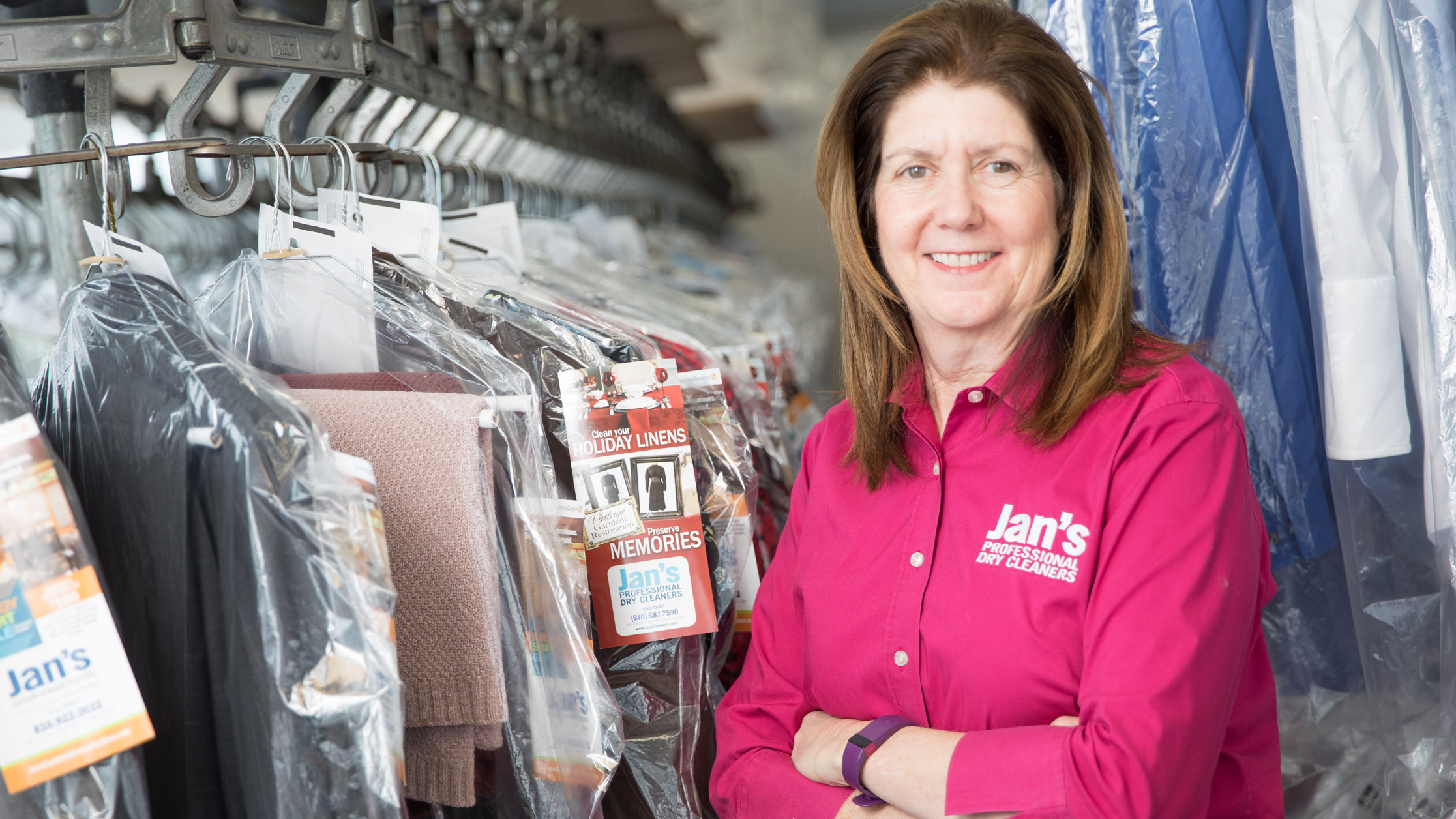 Jan Barlow, owner of Jan's Professional Dry Cleaning, Clio, MI