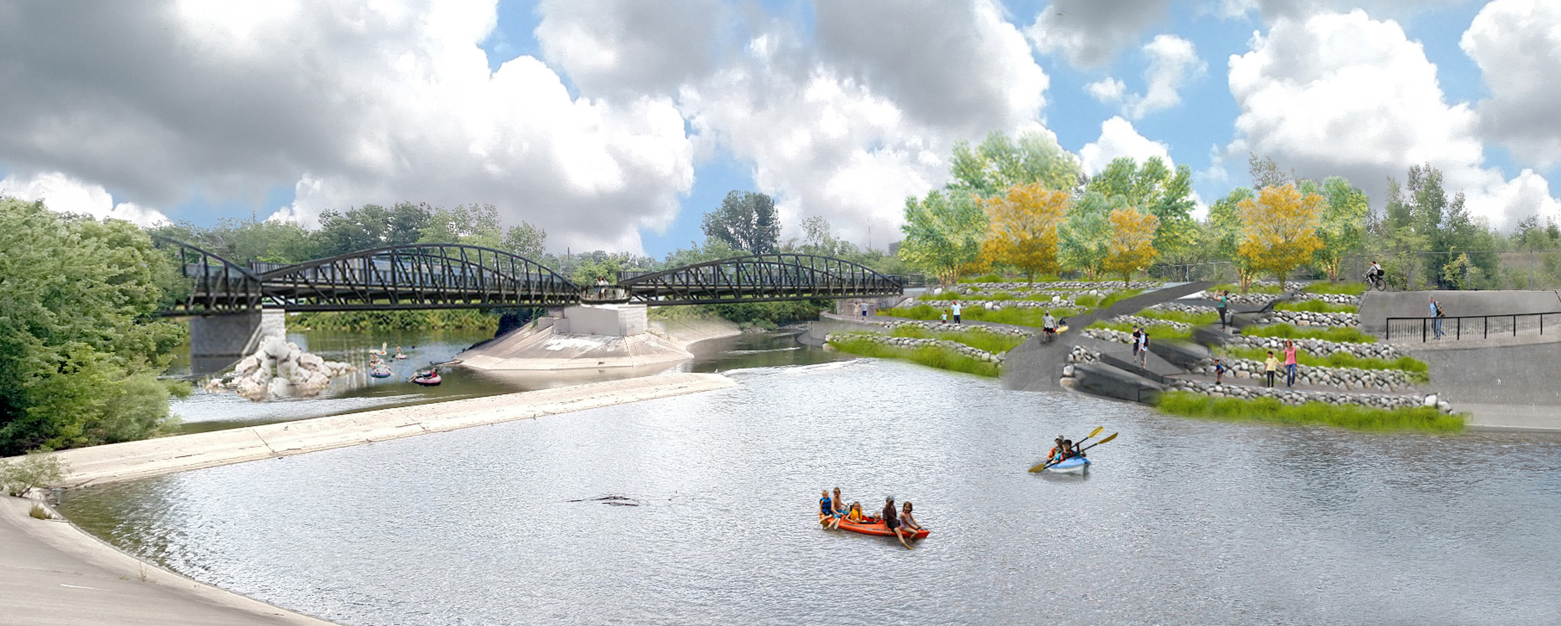 Rendering of Swartz Creel confluence, Flint River Restoration Project
