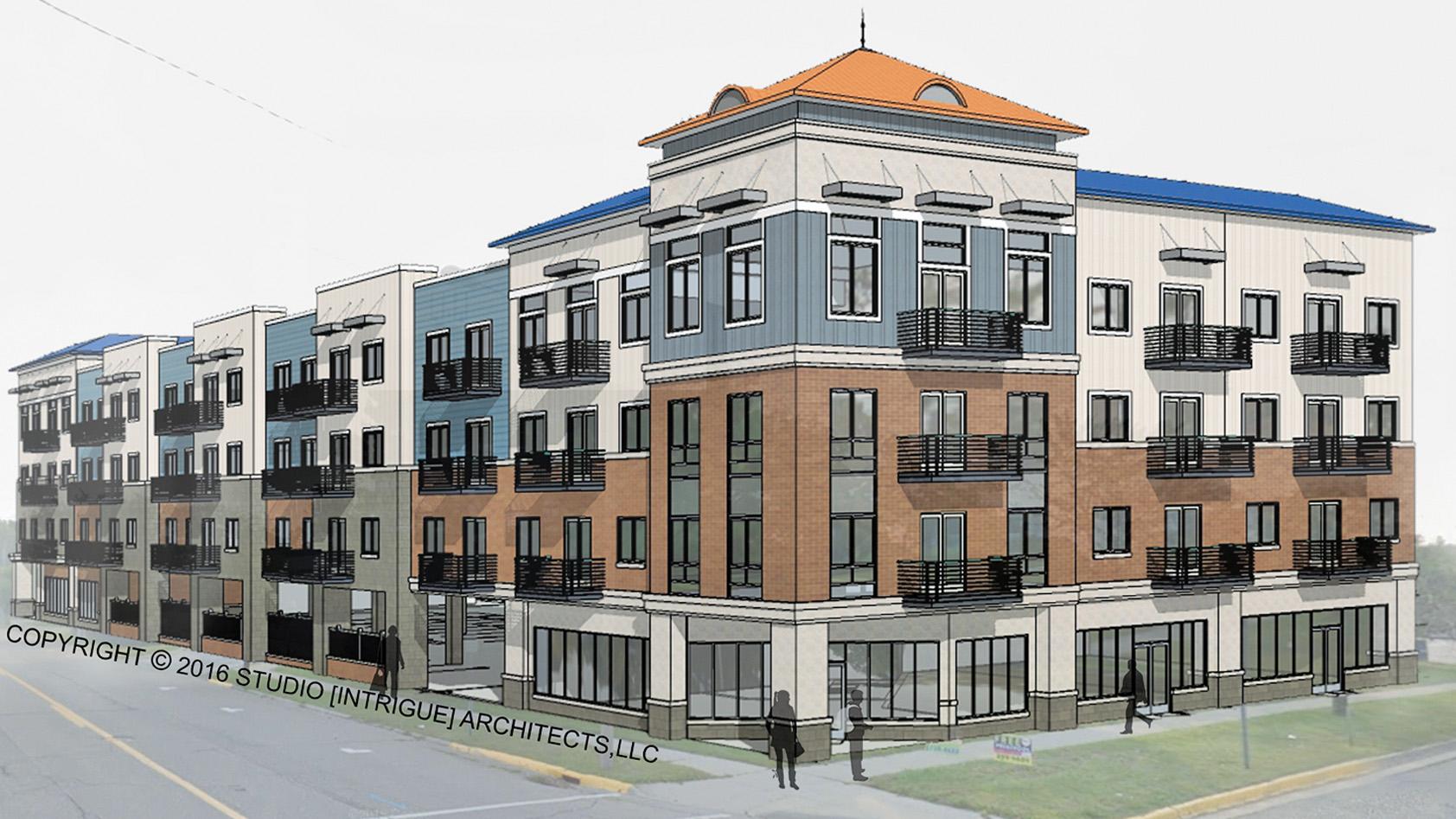 Rendering of YWCA building, downtown Flint, MI