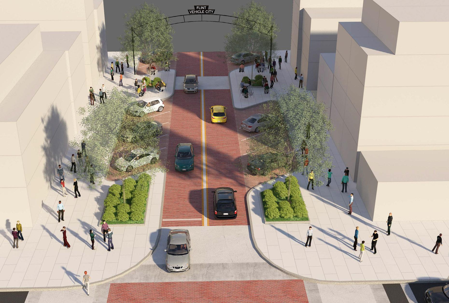 Downtown Flint Gameplan depicting preferred Saginaw Street enhancements