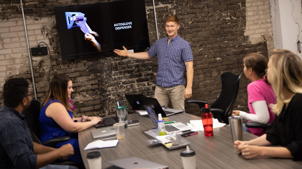 Crown Mallard making presentation for new product