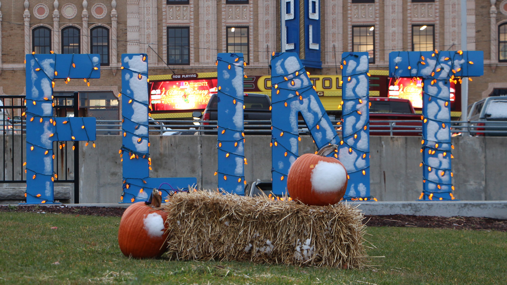 Flint sign decorated for Halloween