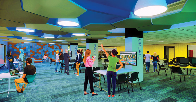 Flint Public Library new digital learning hub rendering