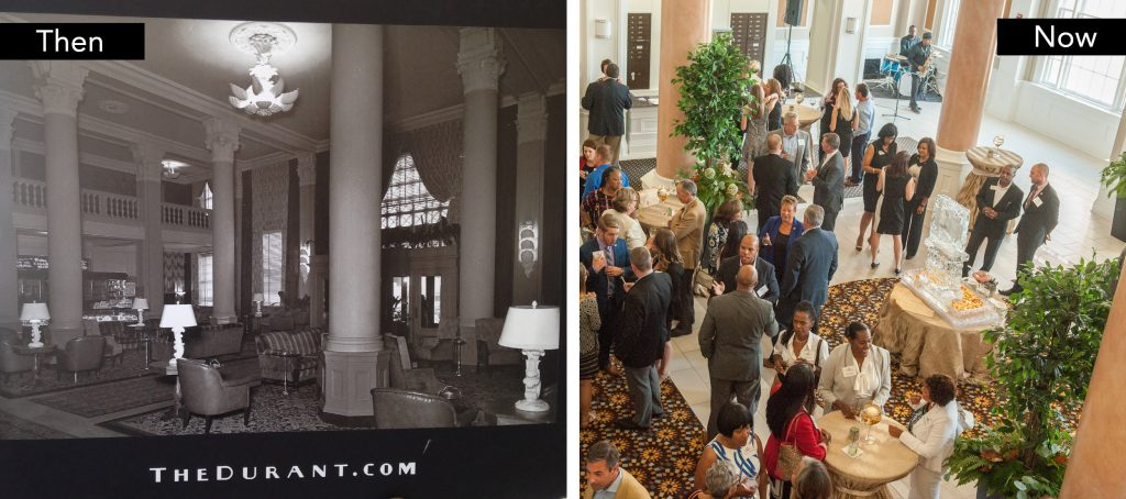 The Durant main entrance, then and now