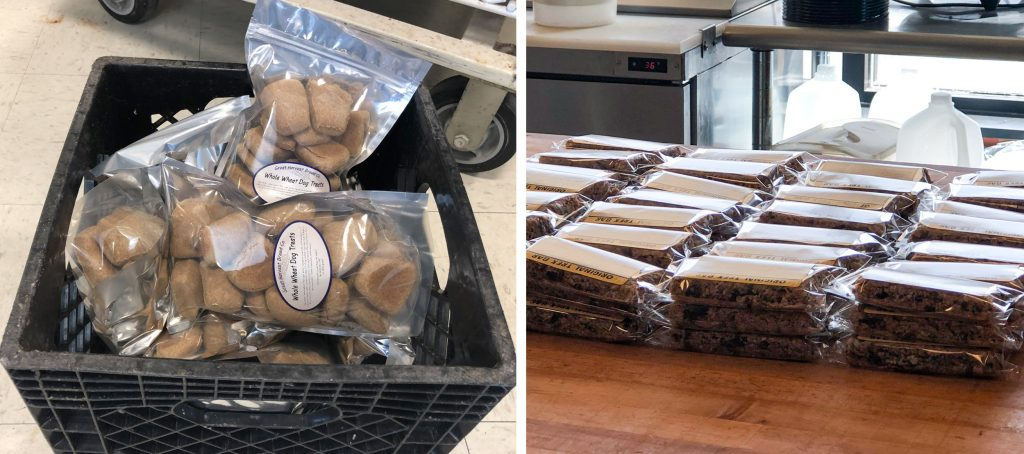 dog biscuits and sandwiches prepared by Great Harvest Bread Co.