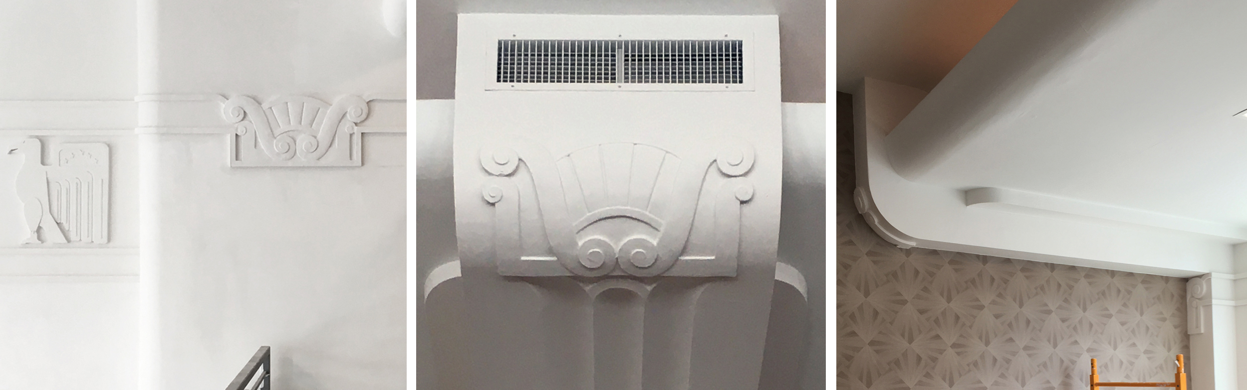 Repaired flourishes and molding in the renovated Hilton Garden Inn