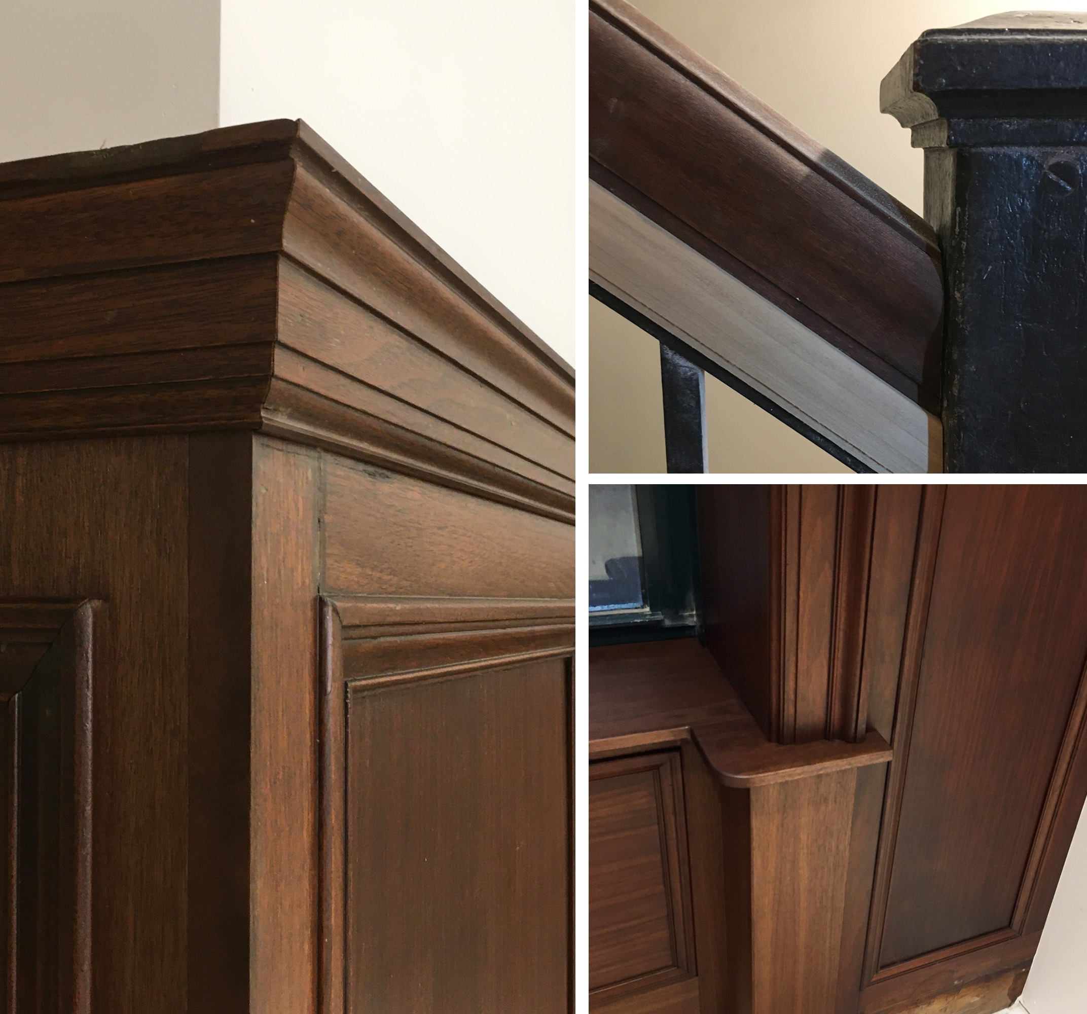 Woodwork and railings in the renovated Hilton Garden Inn, downtown Flint