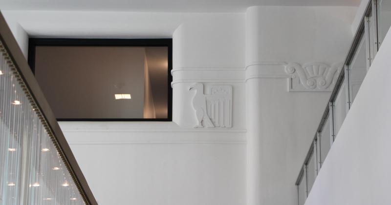 Inside photo showing architecture detail inside new Hilton Garden Inn, downtown, Flint MI