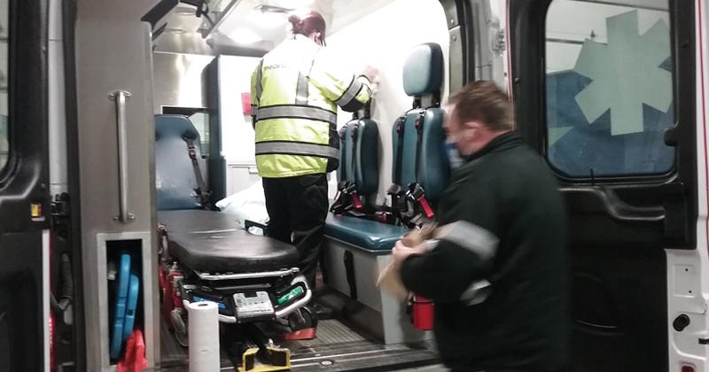 MedStar paramedics ready their ambulance